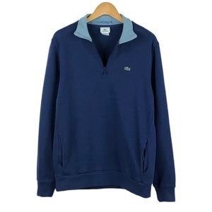 LACOSTE | Blue Quarter Zip Ribbed Sweater